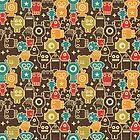 Robots on brown by Ekaterina Panova
