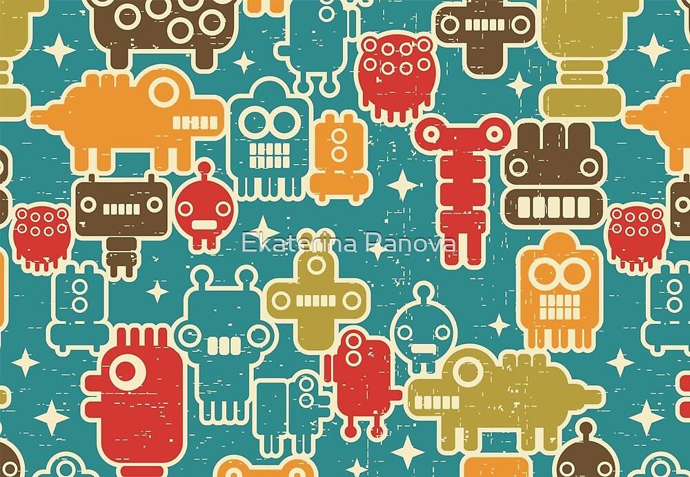 Robots on blue by Ekaterina Panova