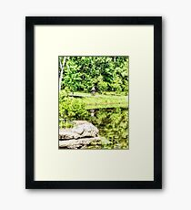 Bicycling by the Lake Framed Print
