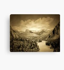 A digital painting of Bow Valley, Canadian National Park, Alberta early 1900s Canvas Print