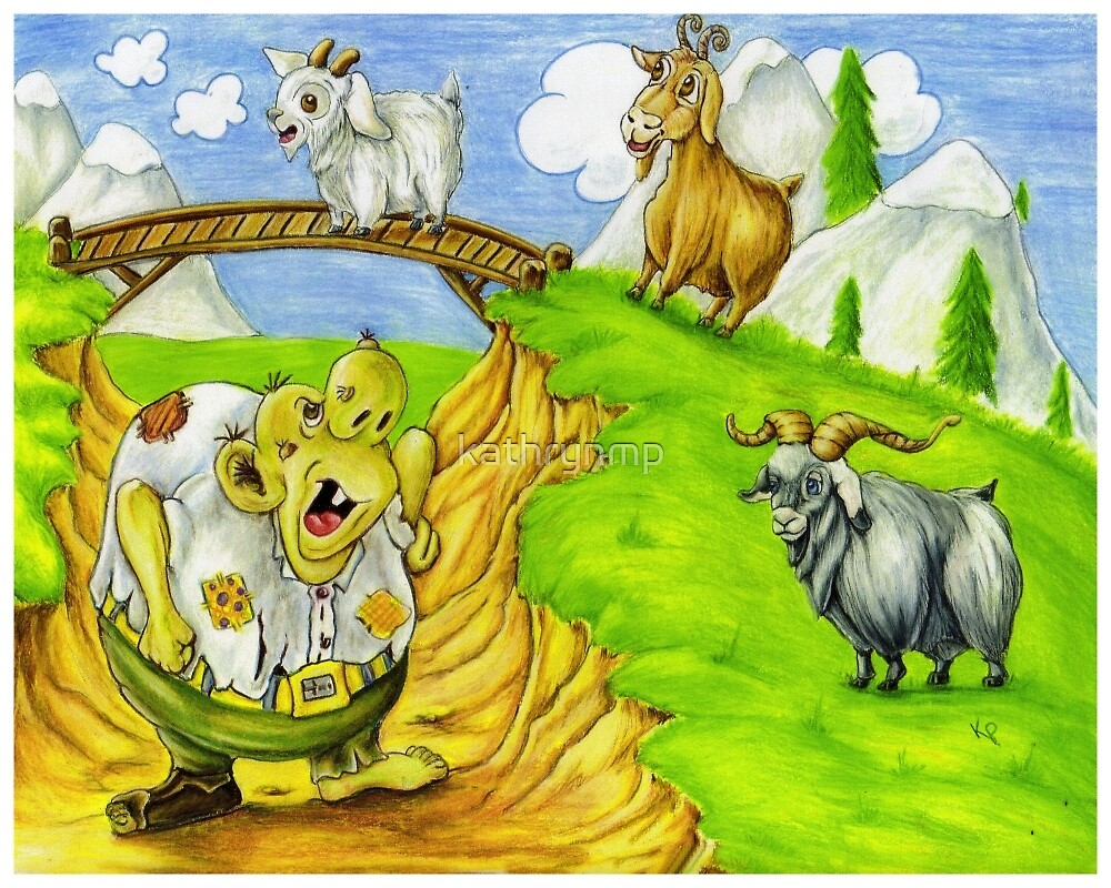 Worksheet The Three Billy Goats Gruff three billy goats gruff by kathrynmp redbubble kathrynmp