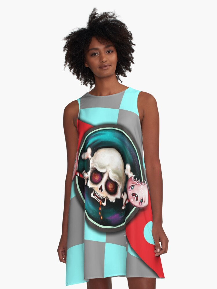 Creepy Skull & Horrified Candy A-Line Dress Front