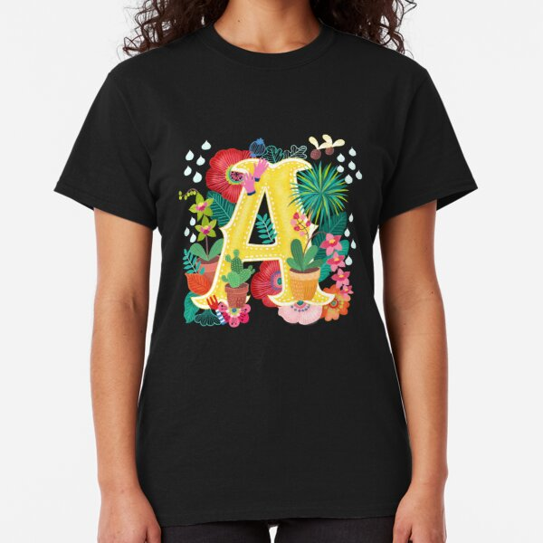 Spring Floral Initial Letter A Classic T-Shirt