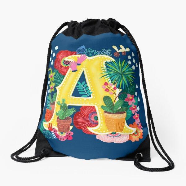 Spring Floral Initial Letter A Drawstring Bag