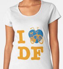 I Love Cycling DF 2 Yellow Blue / Yo Amo andar en Bicicleta en el DF  / Chilango Pride / Orgullo Chilango Women's Premium T-Shirt