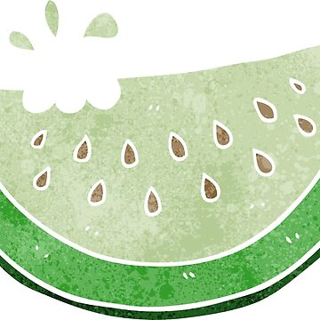 retro cartoon melon slice by octoberarts