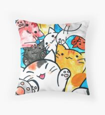 Manga cats are everywhere Throw Pillow