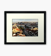 Sun and Shade Over Rossio Square in Lisbon Portugal Framed Print