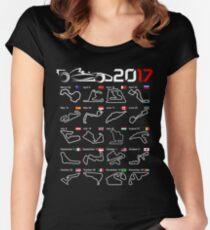 Calendar F1 2017 circuits Women's Fitted Scoop T-Shirt