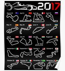 Calendar F1 2017 circuits Poster