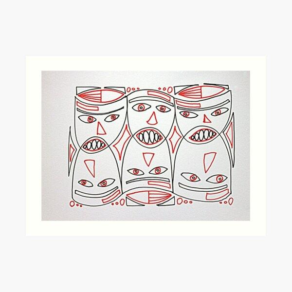 Red and Black Masks Art Print