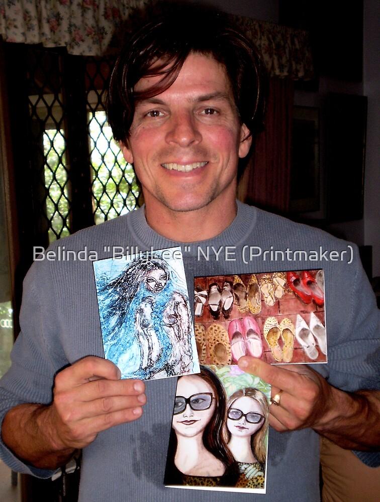 "My husband David holding my cards! by Belinda ""BillyLee"" NYE (Printmaker)"