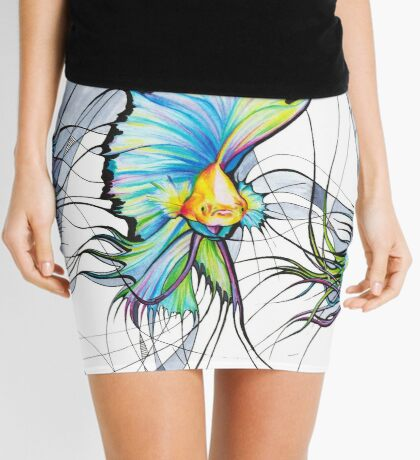 Surreal Fighting Fishes between wires Mini Skirt