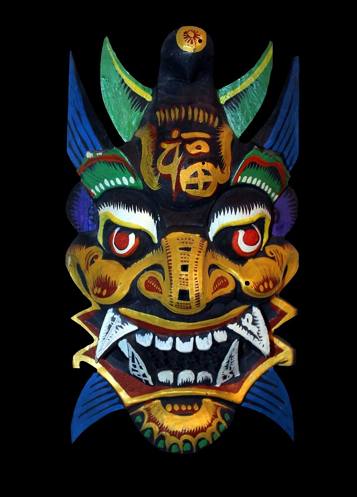 Chinese Wooden Mask by Rockett Graphics