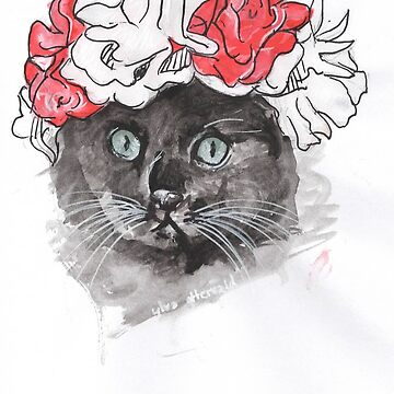 Cat flower-crown art print by Frostfeathers