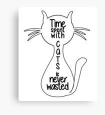Lienzo Gatos Tshirt El tiempo pasado con los gatos nunca se pierde Refrán divertido