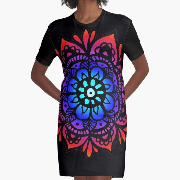 Colorful Rainbow Mandala Graphic T-Shirt Dress