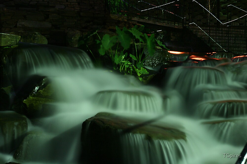 Waterfall in the park after dark by TSpires