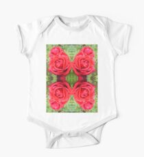 Red rose with raindrops mirrored nature photograph One Piece - Short Sleeve