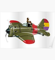 Cartoon Military Retro Fighter Poster