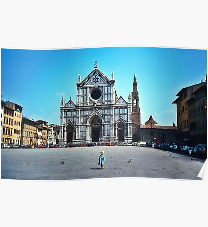 A child in Florence - Basilica of Santa Croce Poster