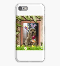 Smiling dog wearing bunny ears  iPhone Case/Skin