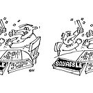 Squabble. Two Players Fight Playing a Board Game by Nigel Sutherland