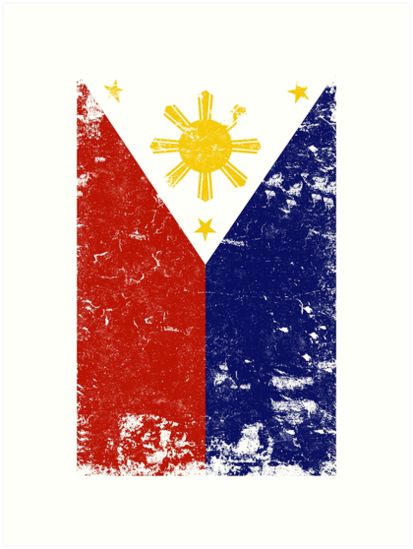 Filipino Vintage Distressed Philippines Flag By Banwa