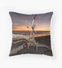 A Beach Bum's Christmas Tree Throw Pillow