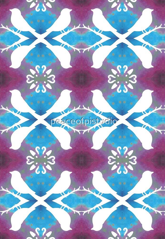 White Birds on Magenta Blue by peaceofpistudio