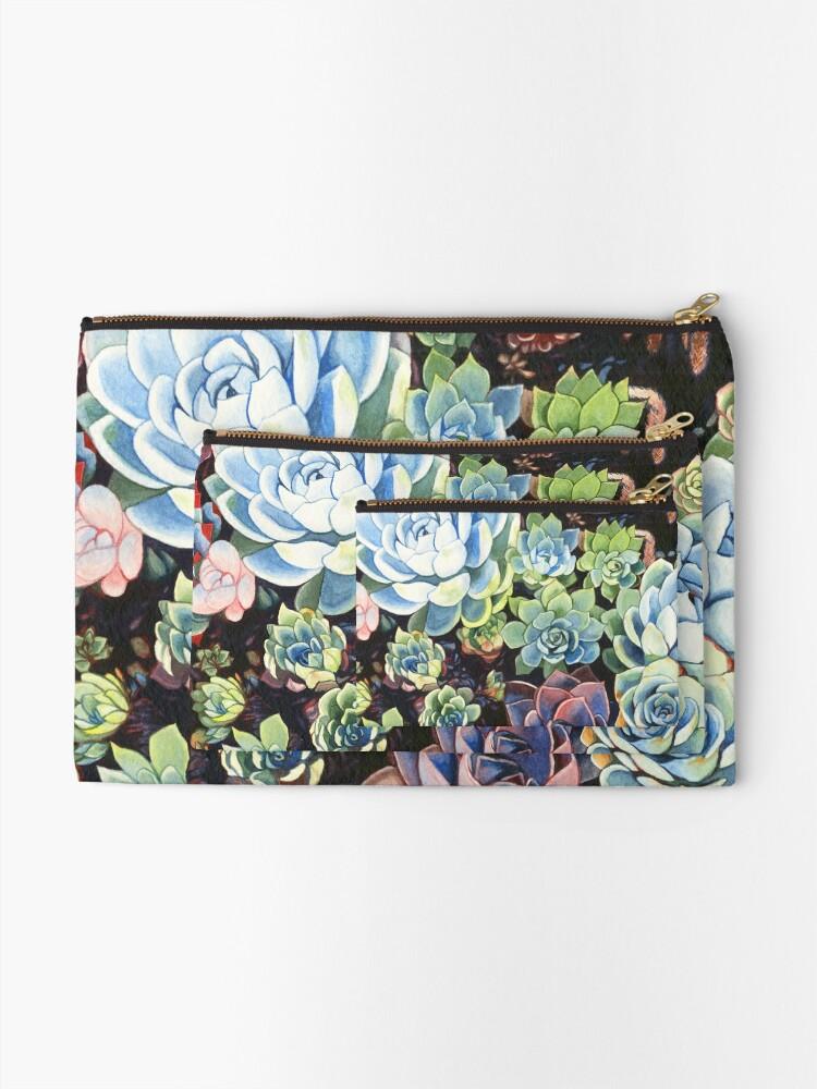 Alternate view of Succulent Field (watercolor) Zipper Pouch