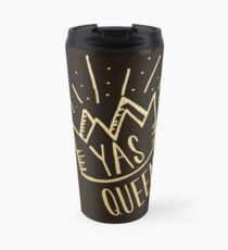 YAS QUEEN (gold on black background) Travel Mug