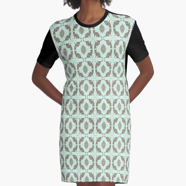 Mint Chocolate Cats Graphic T-Shirt Dress
