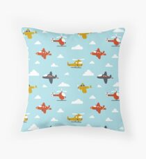 Cartoon Aircraft Throw Pillow