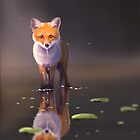 Fox that stands in the water with fog by jenteva
