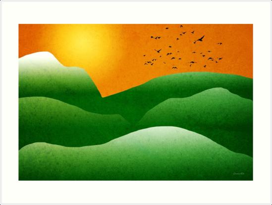 Mountain Sunrise Landscape by Christina Rollo