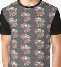 Happy Sloth with orchids Graphic T-Shirt