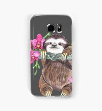 Happy Sloth with orchids Samsung Galaxy Case/Skin
