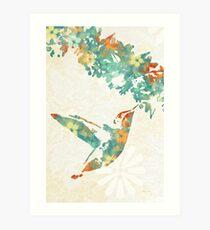 Floral Hummingbird Art Print