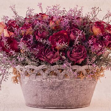 Pink Dried Roses Floral Arrangement by SandraFoster