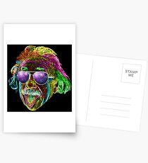 Albert Einstein Neon Rave Design Postcards