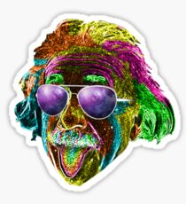 Albert Einstein Neon Rave Design Sticker
