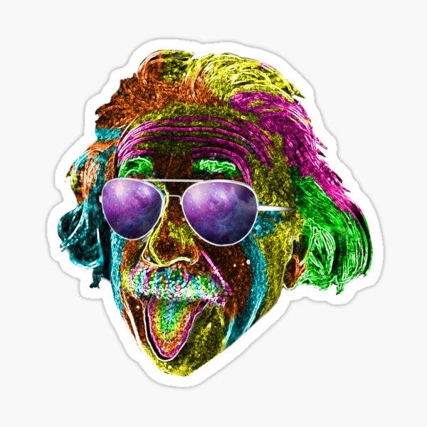 Albert Einstein Neon Rave Design Sticker
