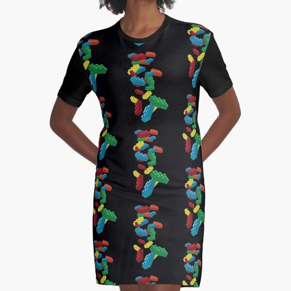 Falling Legos Graphic T-Shirt Dress