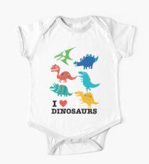 Ich liebe Dinosaurier Baby Body Kurzarm