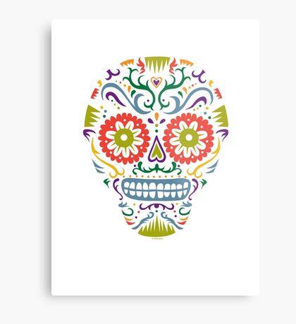 Sugar Skull SF multi 2 - on white Metal Print