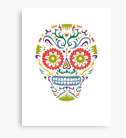 Sugar Skull SF multi 2 - on white Canvas Print
