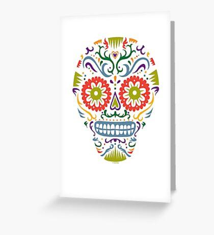 Sugar Skull SF multi 2 - on white Greeting Card