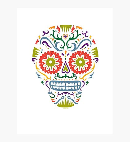 Sugar Skull SF multi 2 - on white Photographic Print