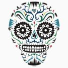 Sugar Skull SF multi om white by Andi Bird